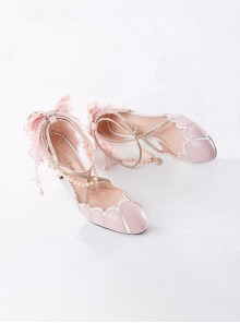 Pink Preorder Ankle Beads Straps High Heel Shoe
