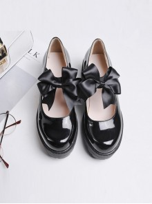 Black Bowknot Thick High Heels Doll Leather Shoes