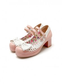 Pink High-heeled Bowknot Princess Shoes