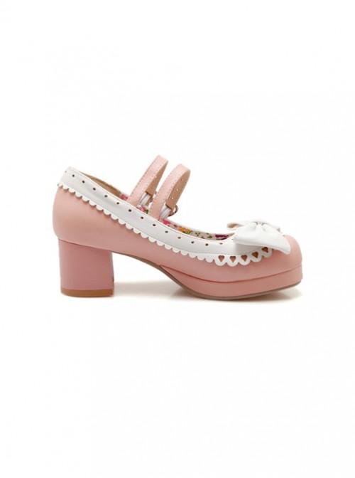 Pink High-heeled Bowknot Princess Shoes