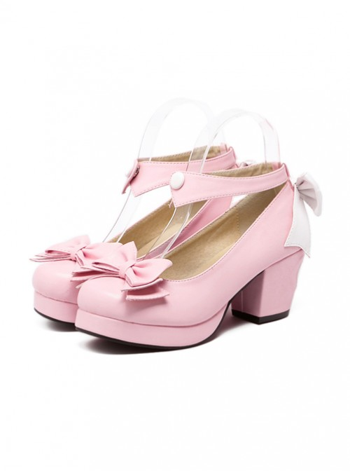 Pink Soft Sister Bowknot Princess Cute Lolita High Heel Shoes