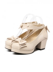 Beige Soft Sister Bowknot Princess Cute Cheap Lolita High Heel Shoes