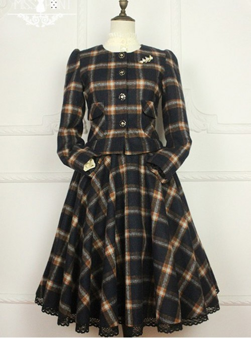 Miss Point Literary Girl Vintage College School Lolita Short Coat and Skirt Set
