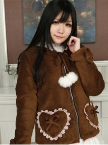 Sweet Thermal Coffee Little Bears Lolita Coat