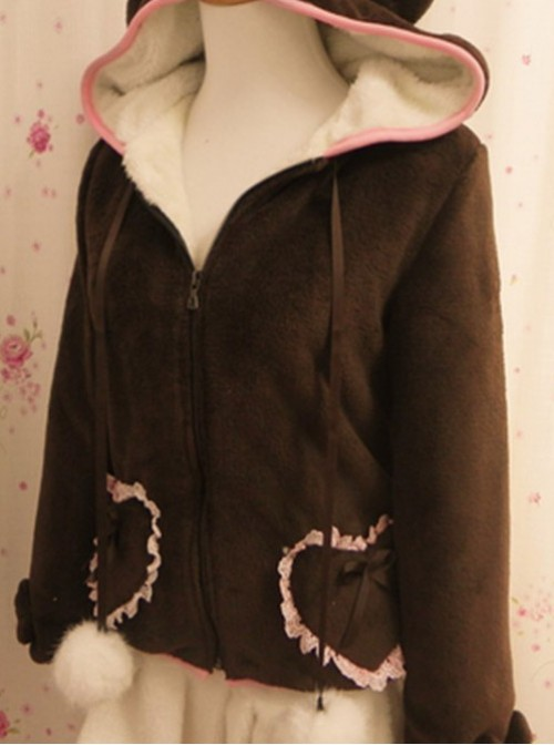 Sweet Thermal Coffee Little Bears Lolita Coat
