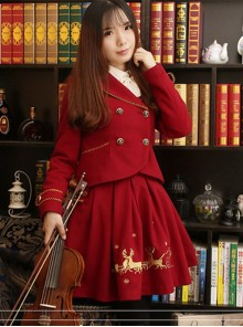 Christmas Story -Vintage Embroidery Lolita Wool Jacket & Short Skirt Set