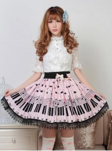 Sweet Pink Piano Keyboard Prints Lolita Pleated Skirt