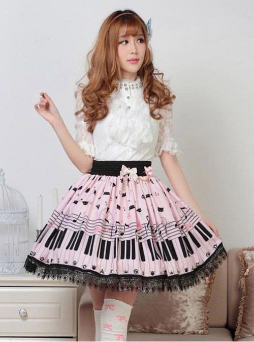 Sweet Pink Piano Keyboard Prints Lolita Pleated Skirt
