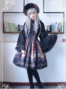 Neverland Lolita Ode to Rococo Black Lolita Skirt