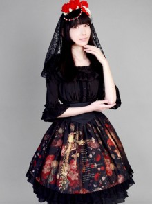 Neverland Lolita,The Maiden in the Garden, High Waist Fishbone Lolita Skirt