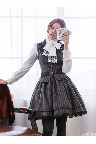Miss Point Vintage School Stripes Lolita Vest and Skirt Set