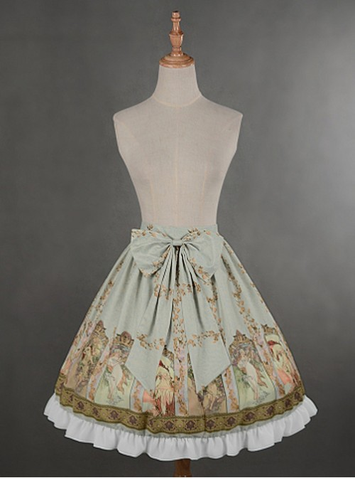 Light Green Custom Size Available  Bowknot At Front Lolita Skirt