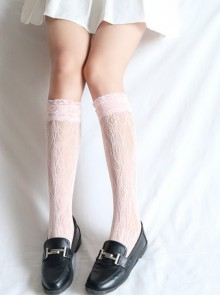Japanese Wind White Lace Lovely Medium Socks