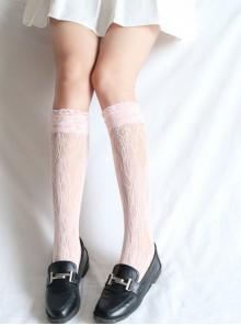 Japanese Wind White Lace Lovely Medium Socks