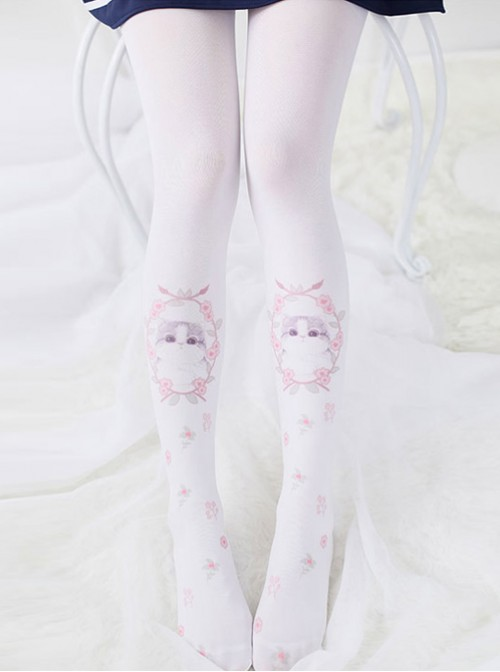 Japanese Sweet Soft Sprouted Cat Print Stockings Cute Lolita Students Bottoming Socks