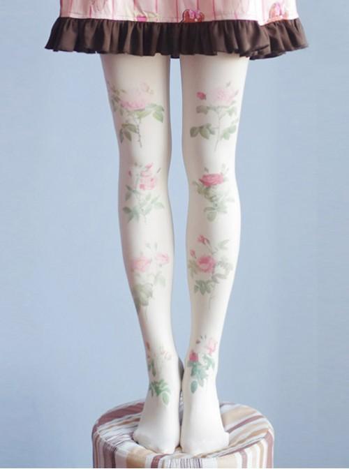 Mori Girl Milky White Rose Printing Pantyhose Student Socks