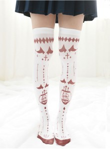 Japanese Personality Little Devil Punk Style White Velvet Stockings Socks
