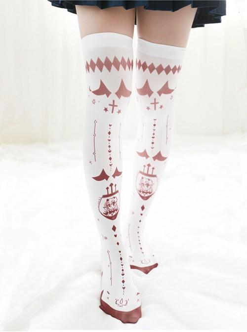 Japanese Personality Little Devil Punk Style White Velvet Stockings Socks