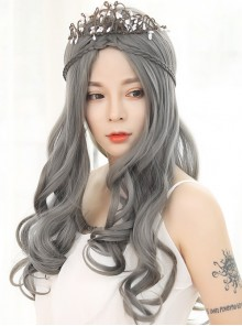 Lolita Wig Female Granny Grey Long Curly Hair Big Wave Set