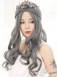 Lolita Wig Female Granny Grey Long Curly Hair Big Wave Set