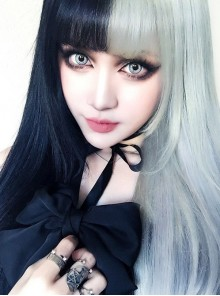 Punk Gothic Wig Female Black And white Yin And Yang Actor's Headgear