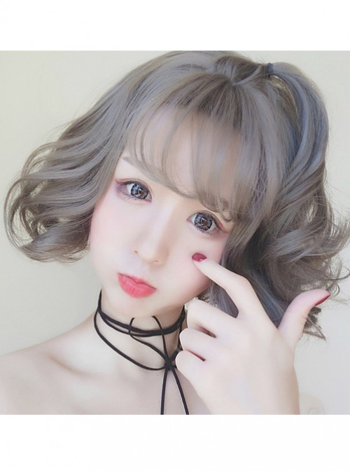 Lolita Grey Soft Sister Short Egg Roll Wig