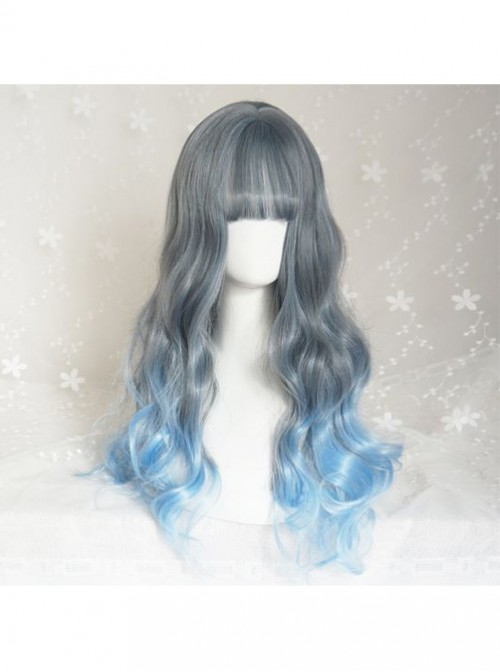 Gray Blue Long Curly Hair Gradient Color Wig