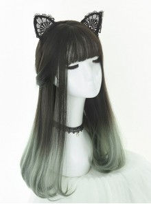 Inner Buckle Gradient Color Long Wig Wavy Bouncy