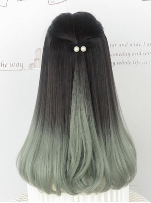 Inner Buckle Gradient Color Long Wig Wavy Bouncy