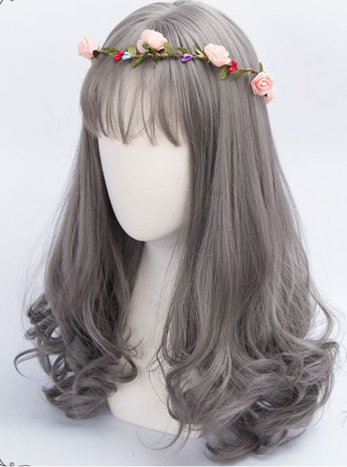 Granny Grey Long Hair Air Bangs Day-to-day Lolita