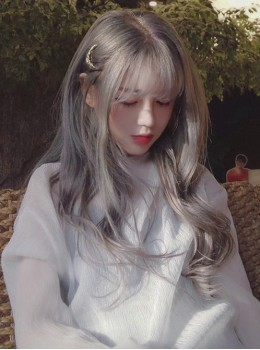 Harajuku Long Curly Hair Smoke Grey Air Bangs Wig Female