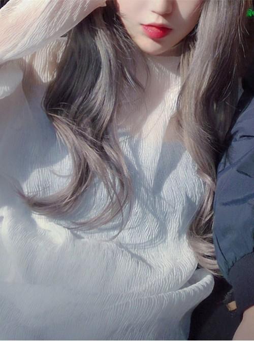Harajuku Long Curly Hair Smoke Grey Air Bangs Wig Female