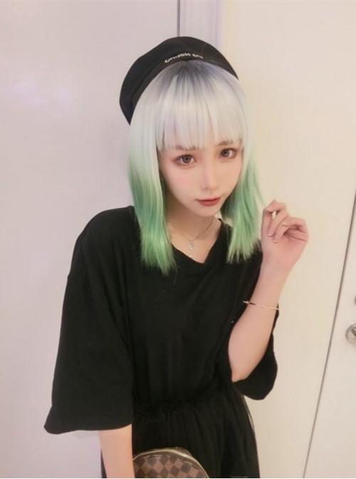 Lifelike European Female Fashion Gradient Color Short Straight Hair