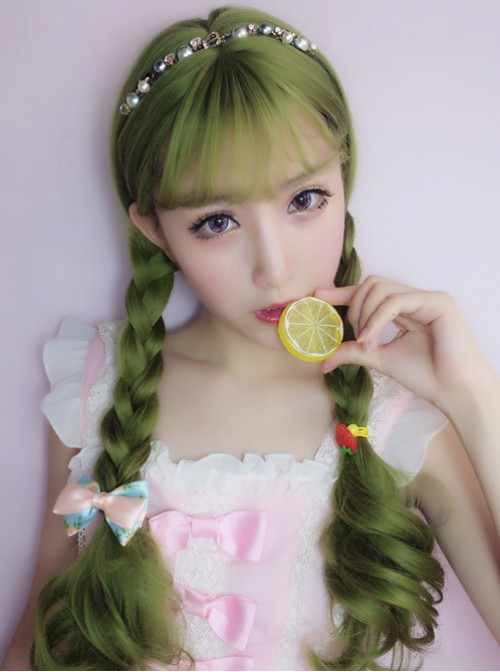 Harajuku Lolita Dark Green Wig Female Long Curls Lovely Nature